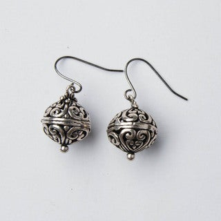Silver Bali Ball Metal Earrings (China)