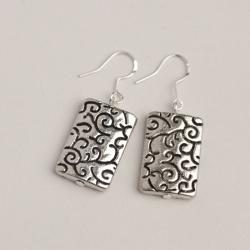 Silver Engraved Rectangular Ball Metal Earrings (China)
