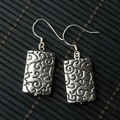 Silver and Black Two-toned Engraved Rectangular Metal Earrings (China)