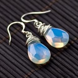 Sterling Silver Teardrop Moonstone Bead Earrings (China)