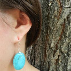 Turquoise Oval Bead Dangling Earrings (China)