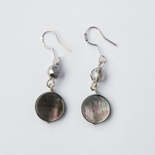 Sterling Silver Grey Mother-of-Pearl and Crystal Drop Earrings (China)