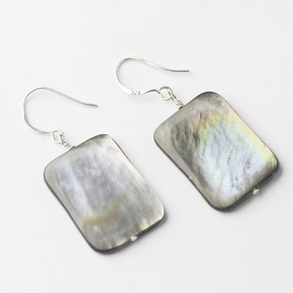Gray Rectangular Mother-of-Pearl Earrings (China)