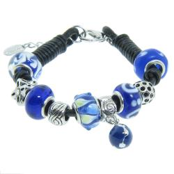 Eternally Haute Silverplated and Leather Dark Blue Glass Charm Bracelet