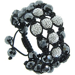 Eternally Haute White Czech Crystal and Hematite Macrame Bracelet