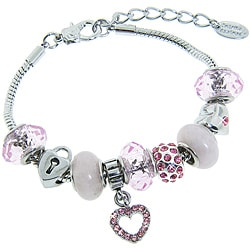 Eternally Haute Silverplated Rose Quartz and Pink Crystal Charm Bracelet