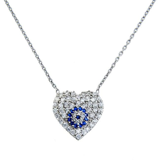 Eternally Haute Sterling Silver Cubic Zirconia Evil Eye Heart Necklace