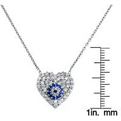 Eternally Haute Sterling Silver Cubic Zirconia Evil Eye Heart Necklace