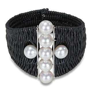 Miadora Leather Cord Freshwater Pearl Cuff Bracelet (9-10 mm)