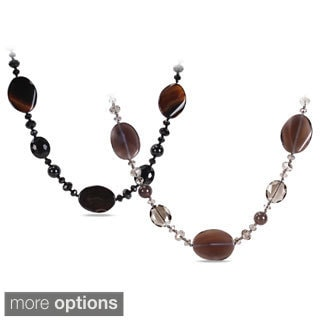 M by Miadora 700ct TGW Agate and Crystal Bead Endless Necklace