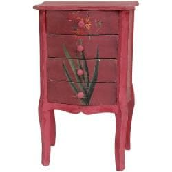 Distressed Red Floral Four-drawer Night Stand (China)