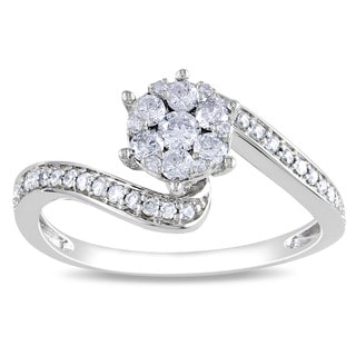 Miadora 14k White Gold 1/3ct TDW Multi Stone Round Cut Diamond Ring (H-I, I1-I2)