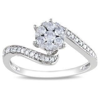 Miadora 14k White Gold 1/3ct TDW Multi Stone Round Cut Diamond Ring (H-I, I1-I2) with Bonus Earrings