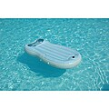 Inflatable Reversible Light-blue Flip Pool Float with Pillow Headrest