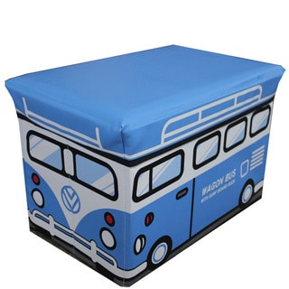 Light Blue Kids Folding Storage Ottoman (Large Size)