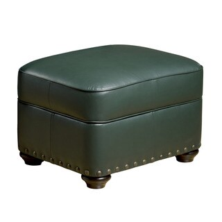 Cardiff Green Leather Storage Otttoman