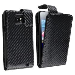 Black Matting Leather Case for Samsung Galaxy S II i9100 with Magnetic Top-Snap