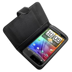 Black Leather Snap-Top Card Wallet Case for HTC Sensation 4G