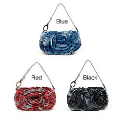 Nicole Lee 'Lori' Denim Flower Washed Pochette with Shoulder Strap