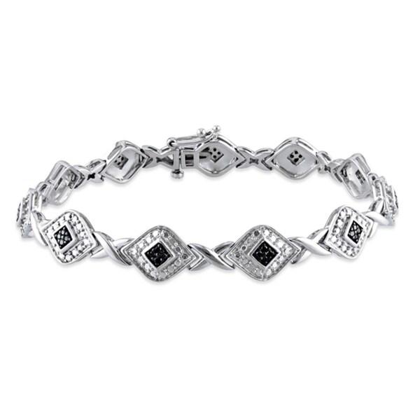 Sterling Silver 1/5ct TDW Black Diamond 7.25-inch Bracelet