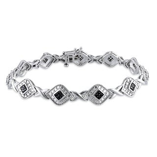 Haylee Jewels Sterling Silver 1/5ct TDW Black Diamond 7.25-inch Bracelet