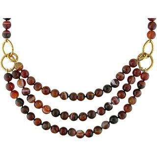 M by Miadora Goldtone 600ct TGW Brown Agate 3-strand 18-inch Necklace