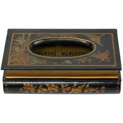 Oriental Home Wooden Tissue Box with Black Lacquer Finish (China)