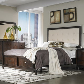 Cumbria Cream Linen 5-piece Queen-size Storage Plateform Bedroom Set