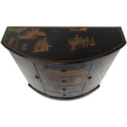 Oriental Home Black Lacquer Village Market Cabinet (China)