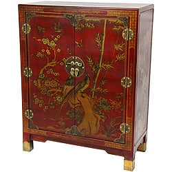 Oriental Home Red Lacquer Nestling Birds Cabinet (China)