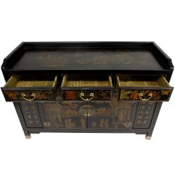 Black Lacquer Village Life Buffet Table (China)