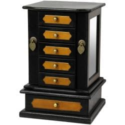 Oriental Home Black Lacquer Side Mirror Jewelry Box (China)
