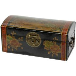 Oriental Home Black Lacquer Flowers Jewelry Box (China)