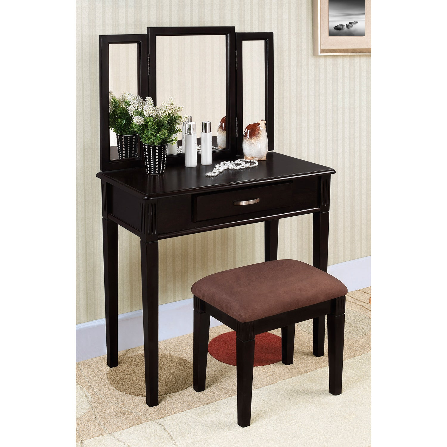Black Finish Tri Mirror Vanity Table And Stool 14257750