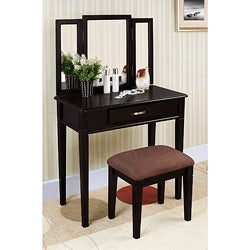 Black Finish Tri-mirror Vanity Table and Stool