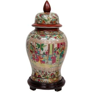 Oriental Home Porcelain 18-inch Rose Medallion Temple Jar (China)