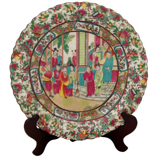 Porcelain 18-inch Rose Medallion Plate (China)