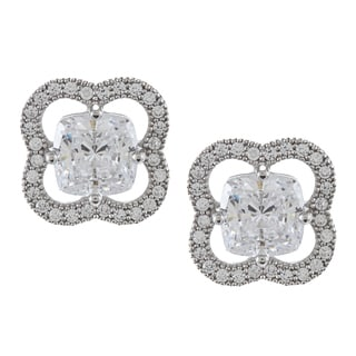 La Preciosa Sterling Silver Cubic Zirconia Flower Stud Earrings