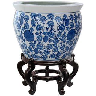 Oriental Home Porcelain 18-inch Blue and White Floral Fishbowl (China)