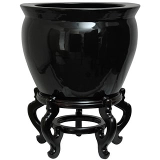 Oriental Home Porcelain 18-inch Solid Black Fishbowl (China)