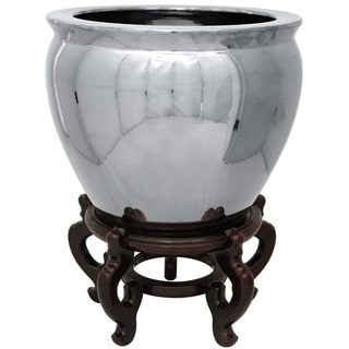 Oriental Home Porcelain 14-inch Pure Silver Fishbowl (China)