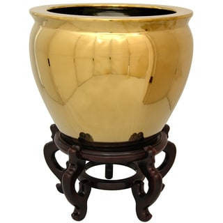 Oriental Home Porcelain 14-inch Solid Gold Fishbowl (China)