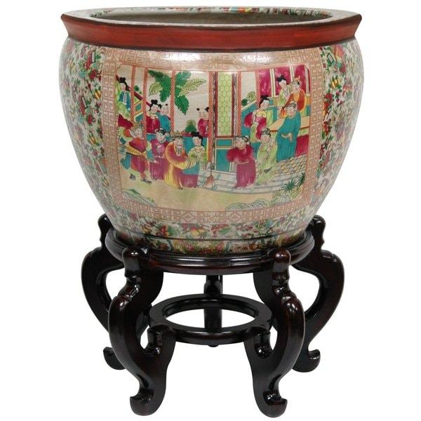Oriental Home Porcelain 12-inch Rose Medallion Fishbowl (China)