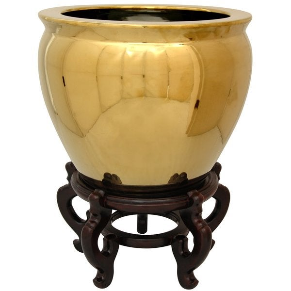 Oriental Home Porcelain 12-inch Solid Gold Fishbowl (China)