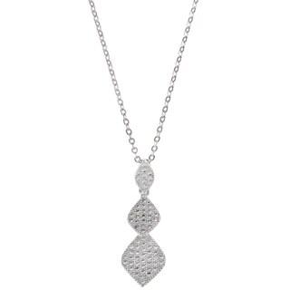 La Preciosa Sterling Silver Graduating Marquise Shaped Dangling Pendant (68 stones)