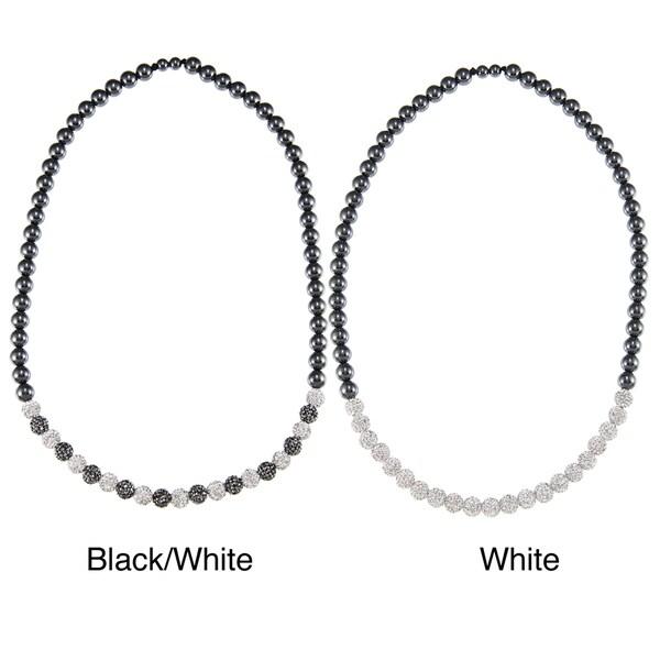La Preciosa Hematite and Crystal Bead 26-inch Necklace