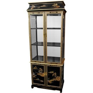 Black Lacquer Landscape Ming Pagoda Top Curio Cabinet (China)