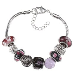 La Preciosa Silvertone Purple and Black Glass Cupcake Charm Bracelet
