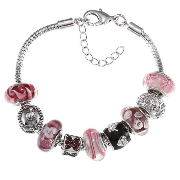 La Preciosa Silvertone Pink and Purple Glass Bead Charm Bracelet