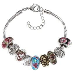 La Preciosa Silvertone Multi-colored Floral Glass Bead Charm Pandora-style Bracelet